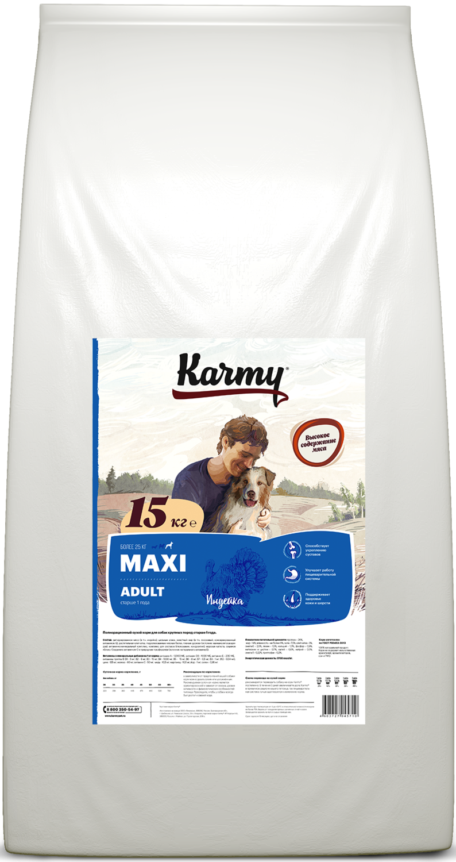 Сухой корм Maxi Adult для собак крупных пород в возрасте старше 1 года, Индейка 15кг.
