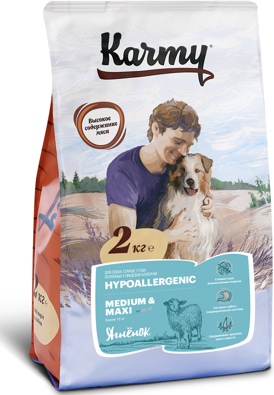Гипоаллергенный сухой корм Карми Medium/Maxi для собак средних и крупных пород, Ягненок, 2кг.