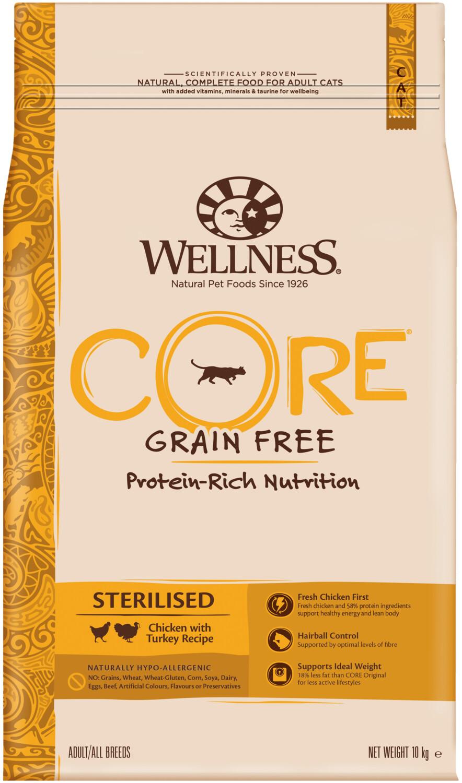 Сухой корм Wellness CORE из курицы с индейкой для кастрированных котов и стерилизованных кошек