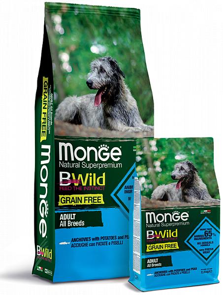 Сухой корм для собак всех пород Monge Dog Bwild Grain Free из анчоуса с картофелем и горохом. Фасовки по 2,5 и 12кг.