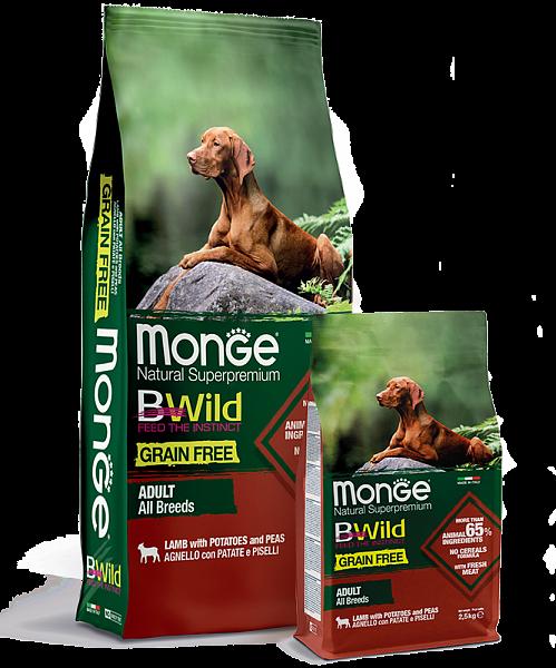 Беззерновой сухой корм Монж Ягненок с картофелем для взрослых собак всех пород