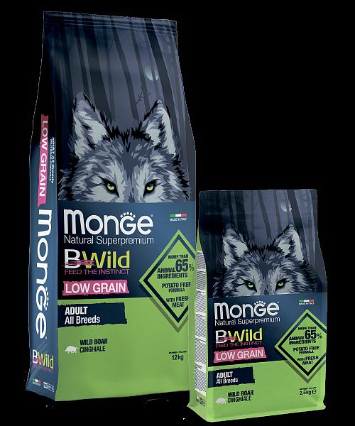 Сухой корм Монж с низким содержанием зерновых на основе дикого кабана для взрослых собак всех пород. Фасовки по 2,5 и 12кг.