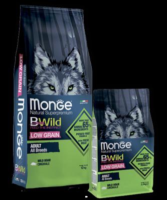 Сухой корм Монж с низким содержанием зерновых на основе дикого кабана для взрослых собак всех пород
