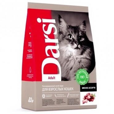 Сухой корм Дарси для взрослых кошек, Мясное ассорти