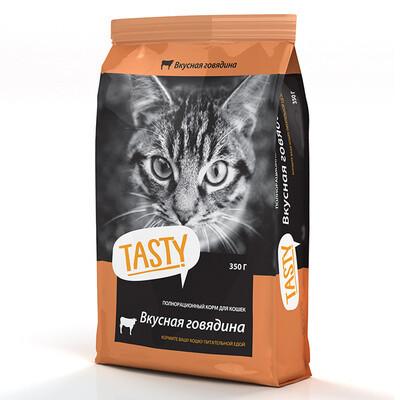 Корм Tasty для взрослых кошек, с говядиной