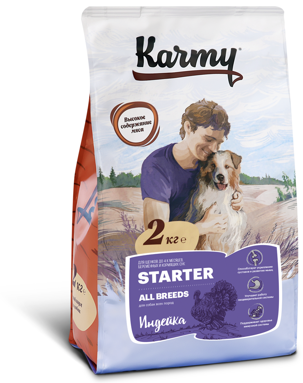 Сухой корм для щенков и кормящих сук Karmy Starter.