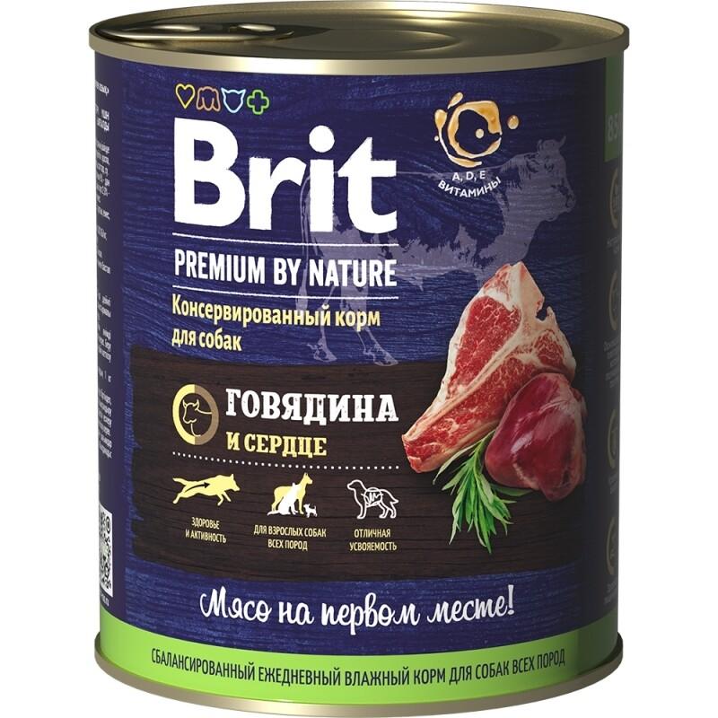 Консервы с говядиной и сердцем для взрослых собак всех пород BRIT