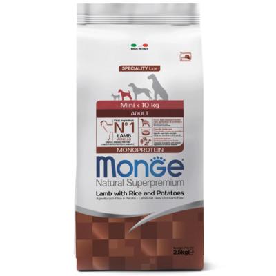 Monge Mini корм для взрослых собак ягненок с рисом.