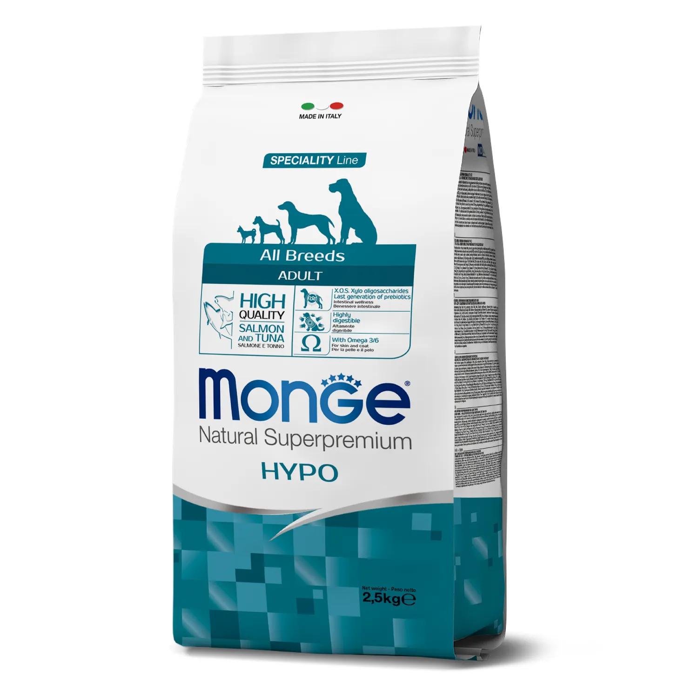 Monge (Монж/Монже) Hypo- гипоаллергенный корм для собак всех пород лосось с тунцом. Фасовки по 2,5 или 12кг.