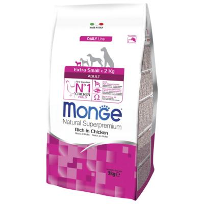 Monge Dog Extra Small корм для взрослых собак миниатюрных пород с курицей. Фасовка по 0,8 или 3кг.