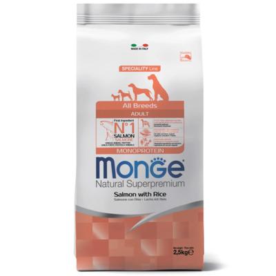 Monge Dog Monoprotein корм для собак всех пород лосось с рисом. Фасовки по 2,5 и 12кг.