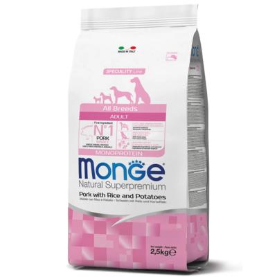 Monge (Монж/Монже) монопротеиновый корм для собак всех пород свинина с рисом и картофелем. Фасовки по 2,5 и 12 кг.