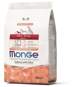 Сухой корм Monge Dog Speciality Line Monoprotein Mini, для взрослых собак мелких пород, из лосося с рисом. Фасовки по 0,8; 2,5 и 7,5 кг