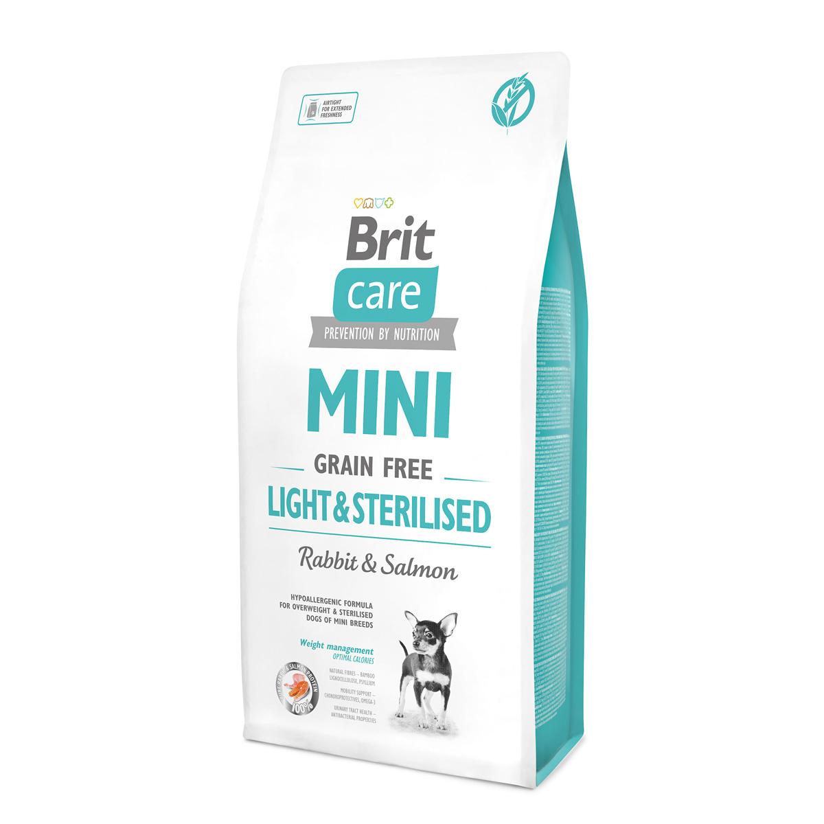 Brit Care MINI c кроликом и лососем для стерилизованных или собак с лишним весом.