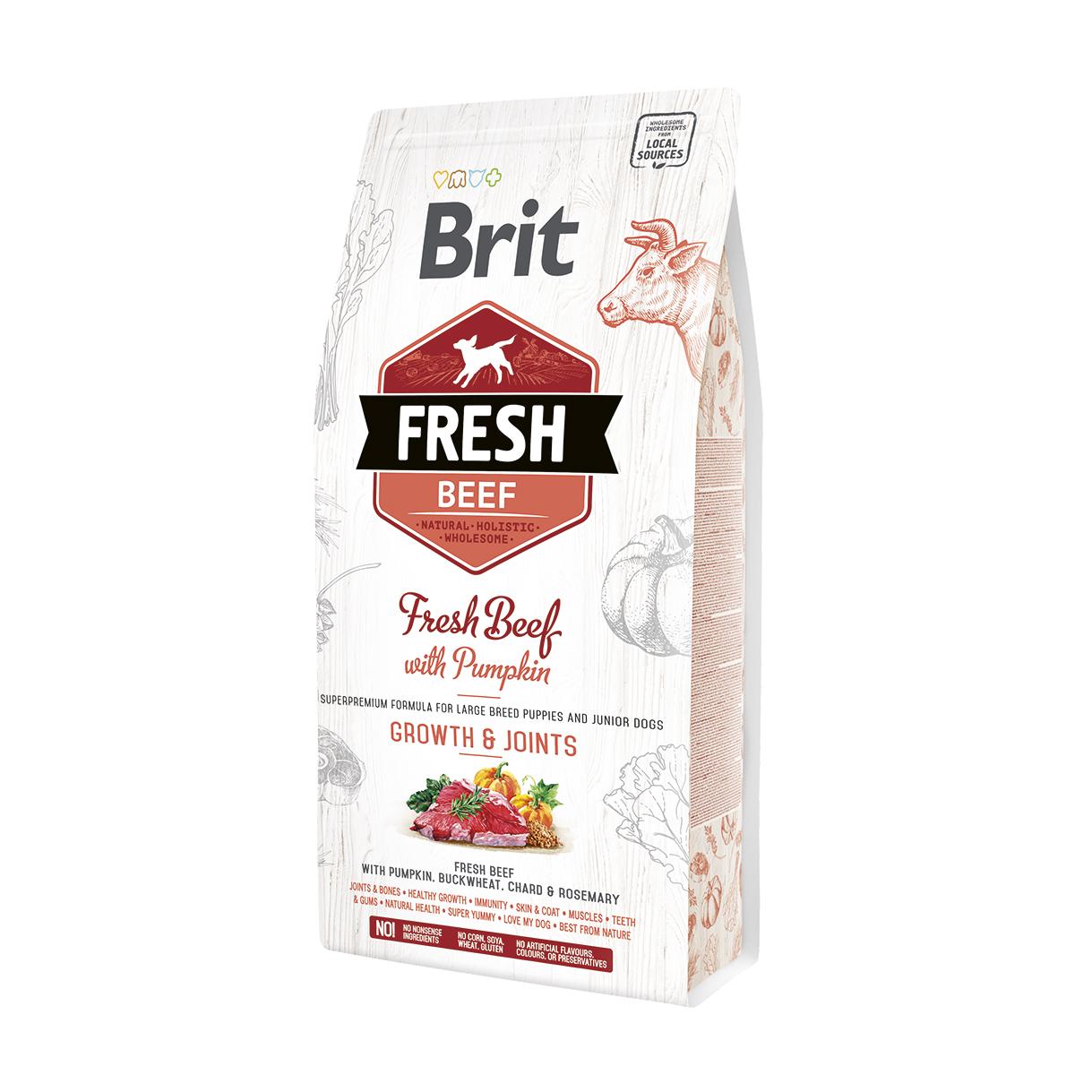 Brit Fresh Beef Полнорационный сухой корм со свежей говядиной и тыквой для щенков крупных пород.