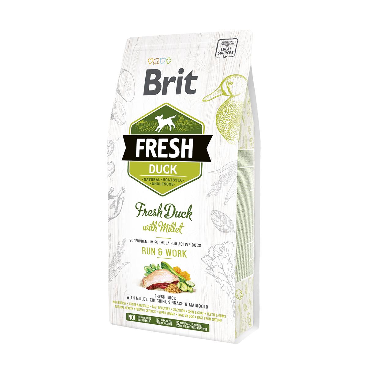 Brit Fresh Duck With Millet Adult Run & Work со свежей уткой и пшеном для взрослых собак с повышенной активностью. Фасовки по 2,5 и 12кг.