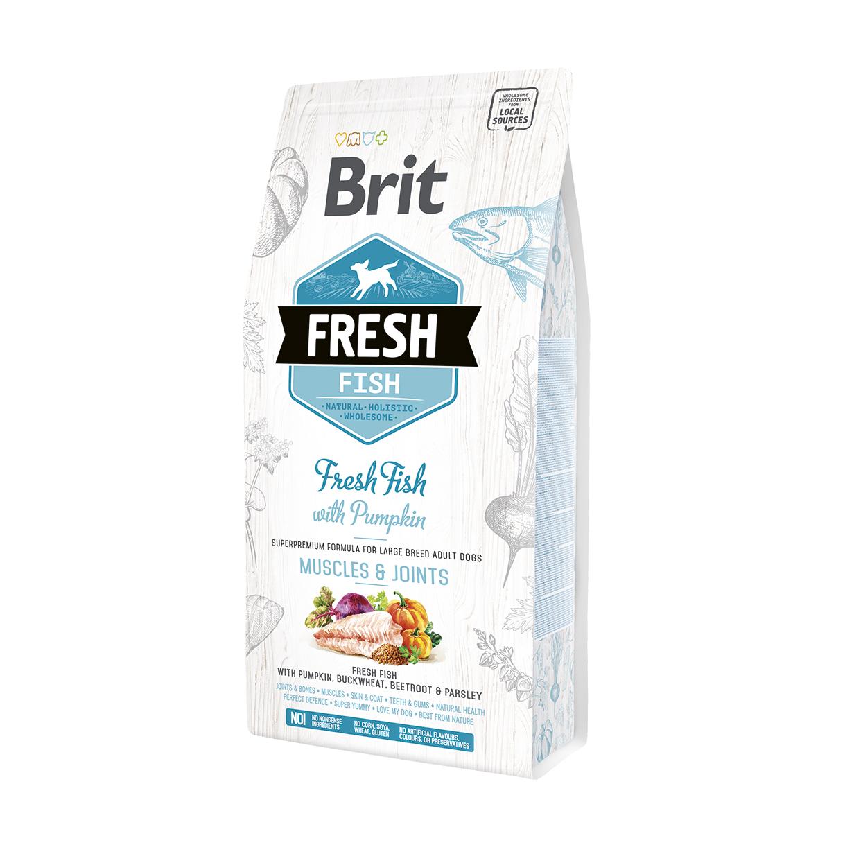 Brit Fresh Fish & Pumpkin Adult Large Muscles & Joints со свежей рыбой и тыквой для взрослых собак крупных пород. Фасовка по 2,5 и 12кг