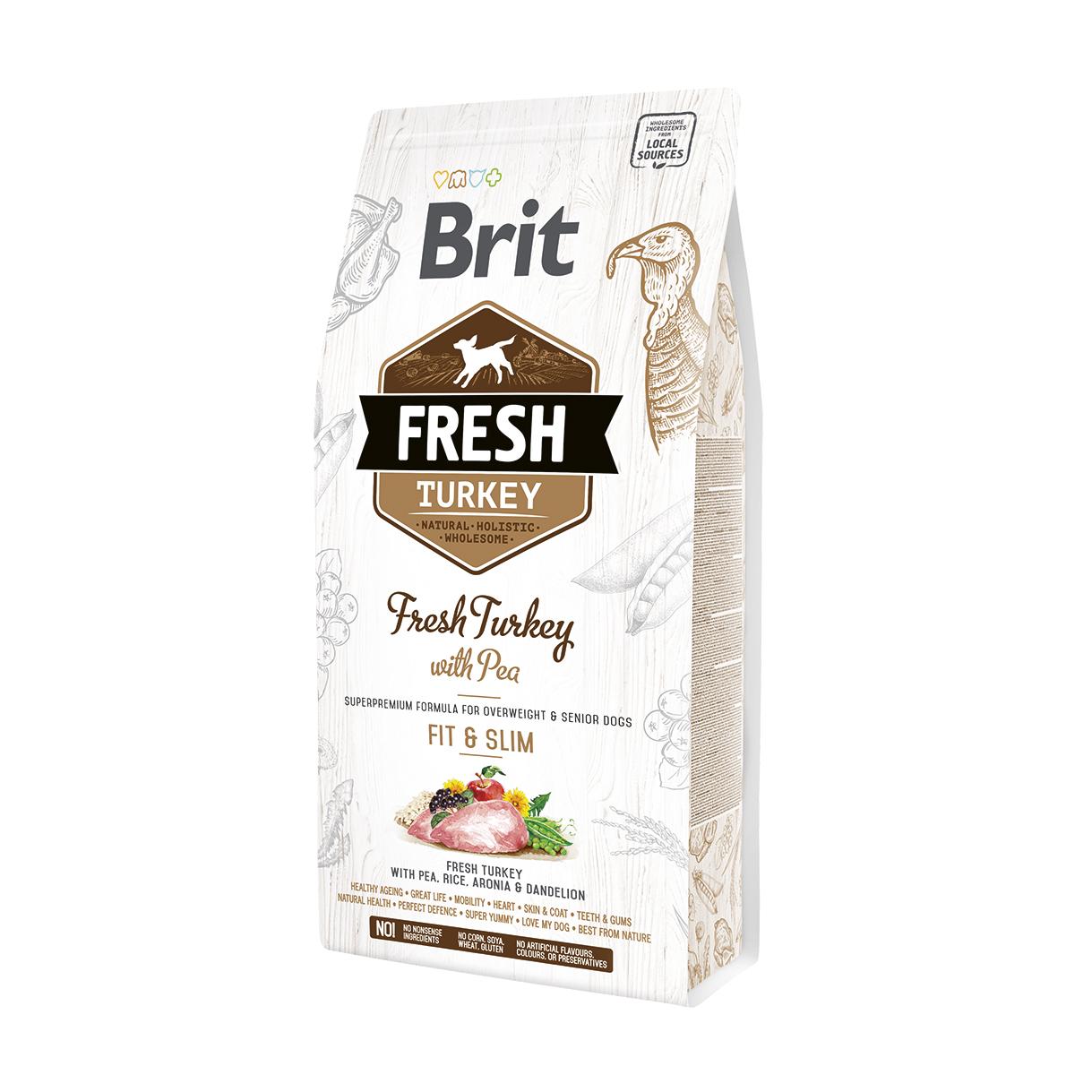 Brit Fresh Turkey With Pea Adult Fit & Slim со сниженной активностью, избыточным весом и/или пожилых собак. Фасовки по 2,5 и 12кг.