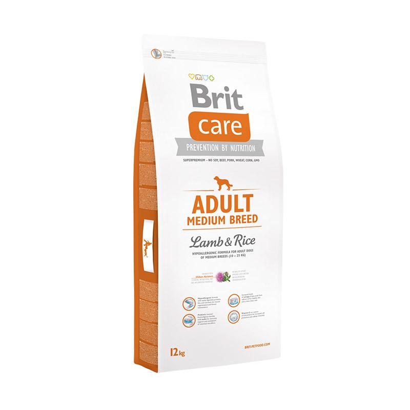 Brit Care Adult Medium Breed Lamb & Rice для взрослых собак средних пород. Фасовки по 1,3,12 и 18кг.
