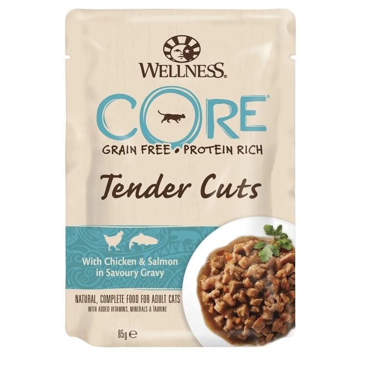 CORE TENDER CUTS паучи из курицы с лососем в виде нарезки в соусе для кошек