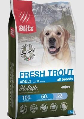 Blitz Holistic СВЕЖАЯ ФОРЕЛЬ — низкозерновой сухой корм для взрослых собак всех пород