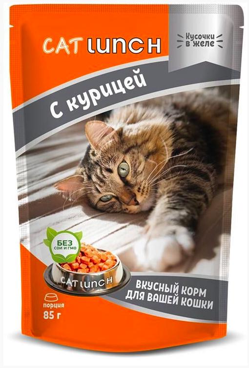 Cat Lunch корм влажный кусочки в желе с курицей