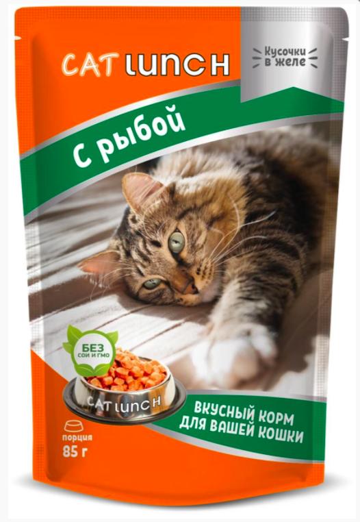 Cat Lunch корм влажный кусочки в желе с рыбой