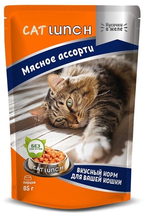 Cat lunch корм влажный для взрослых кошек с мясным ассорти в желе