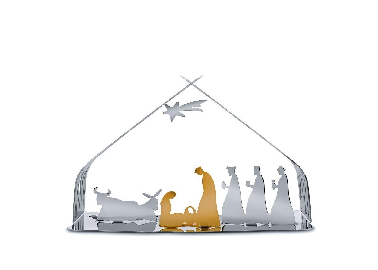 ALESSI 'bark crib' metalen kerststal RVS blinkend