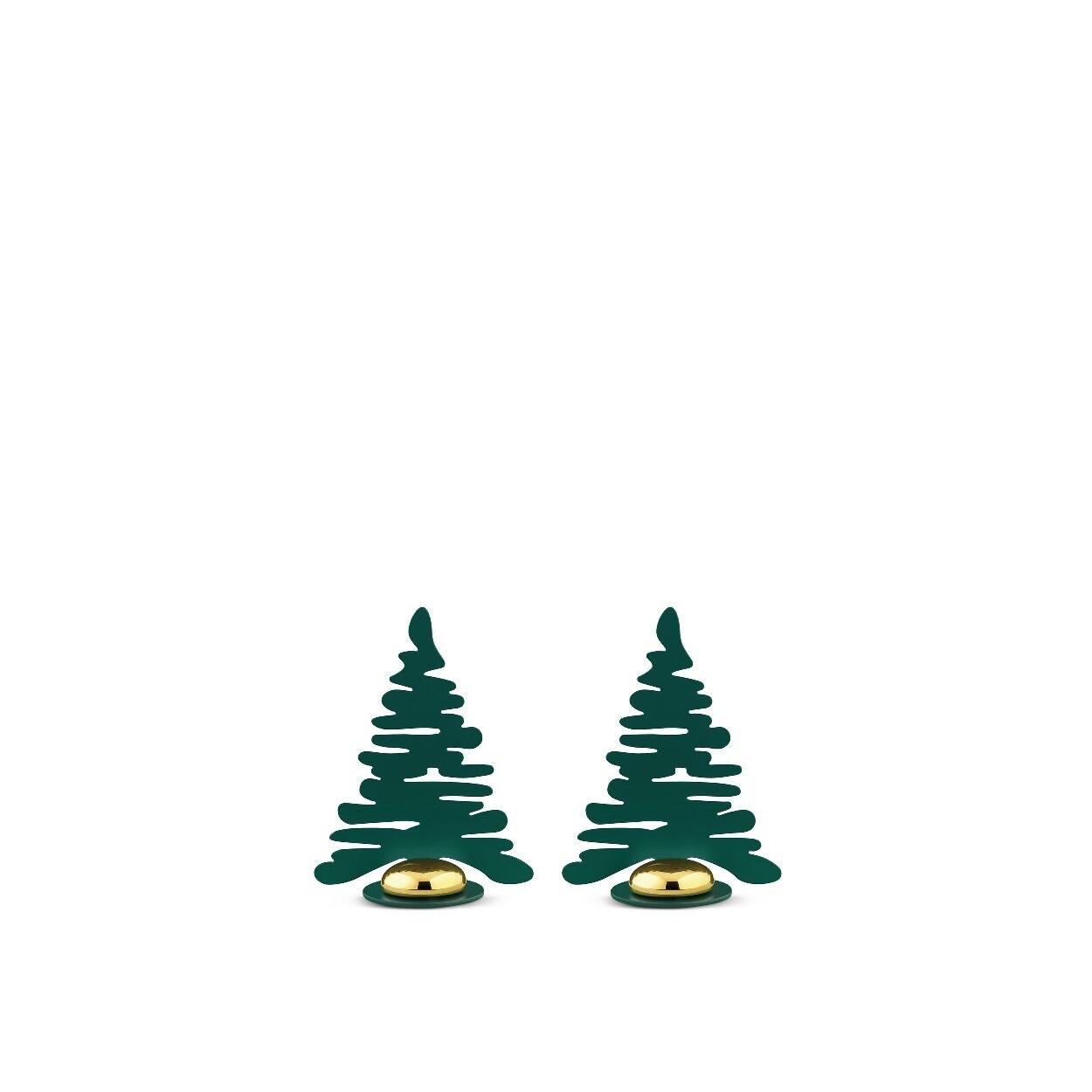 ALESSI 'bark for christmas' set/2 metalen naam- of fotohouders groen met vergulde magneet