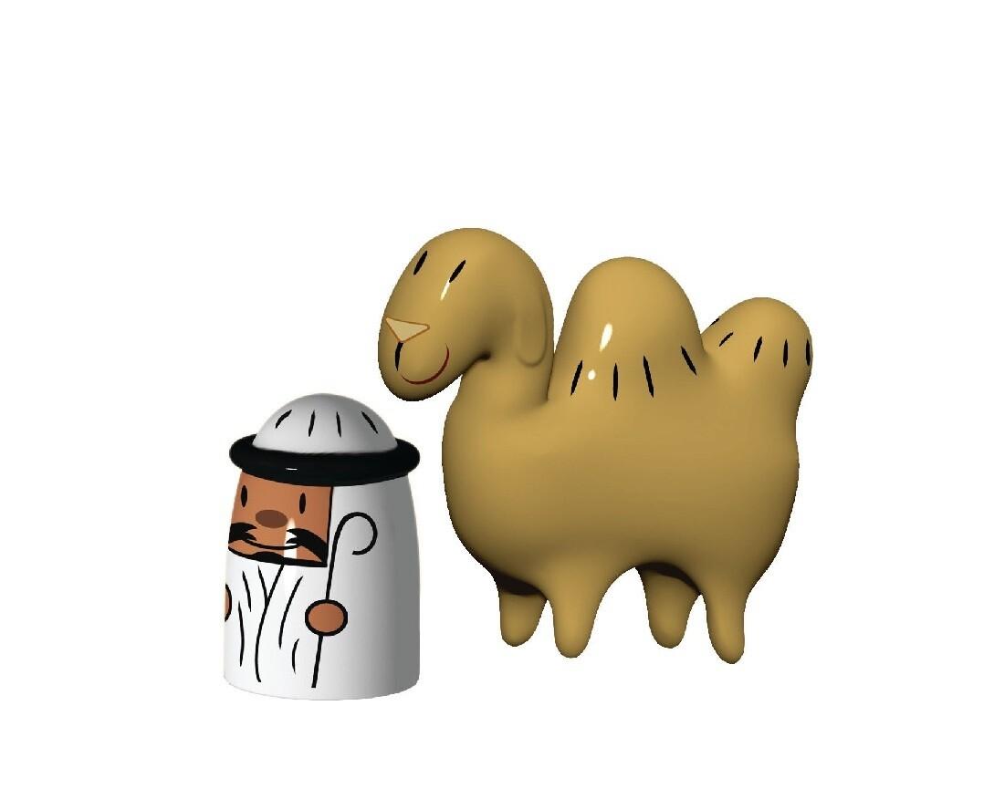 ALESSI 'amir & camelus' set/2 porseleinen kerstfiguurtjes emir & kameel