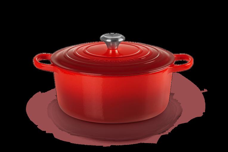 LE CREUSET 'signature' ronde stoofpot 28cm / 6,7L kersenrood  PROMO 339,00 -30%