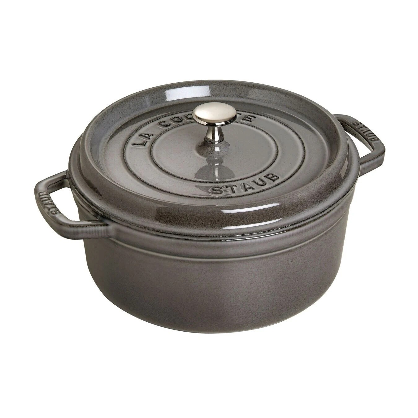 STAUB 'la cocotte' ronde stoofpot 24cm / 3,8L grafietgrijs  PROMO 239,00 -20%