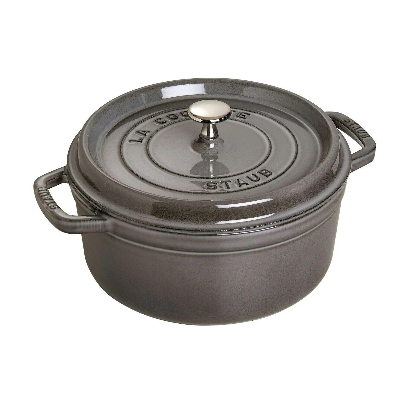 STAUB 'la cocotte' ronde stoofpot 26cm / 5,25L grafietgrijs  PROMO 269,00 -20%