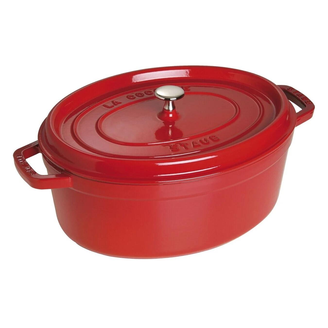STAUB 'la cocotte' ovale stoofpot 37cm / 8,0L kersenrood  PROMO 339,00 -20%