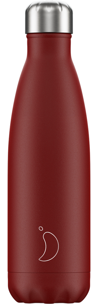 CHILLY'S 'matte edition' dubbelwandige drinkfles 500ml donkerrood