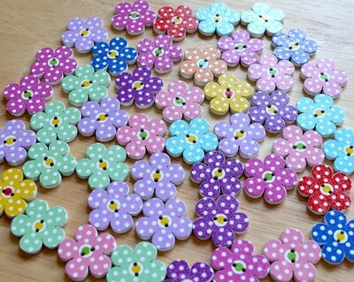 Wooden button - dotted flower #14