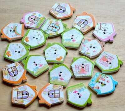 Wooden button - house #16