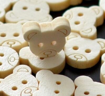 Wooden button - teddy #8