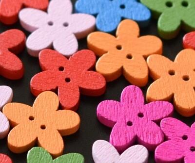 Wooden button - flower #10