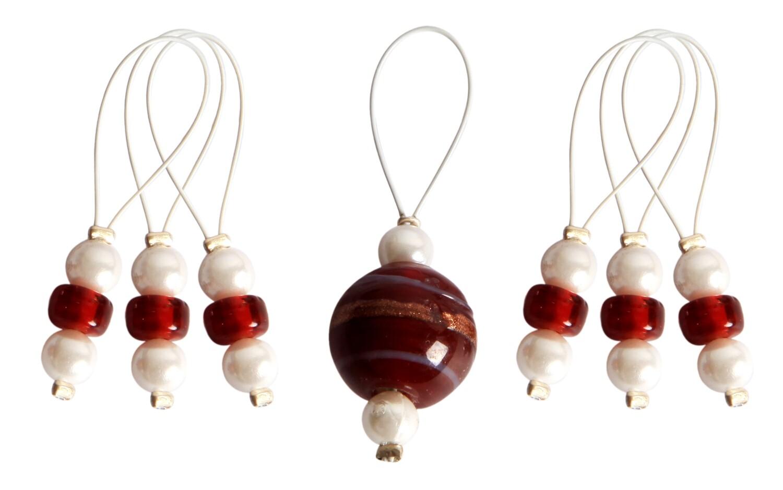 KnitPro 7 pearls - stitch markers Amaryllis