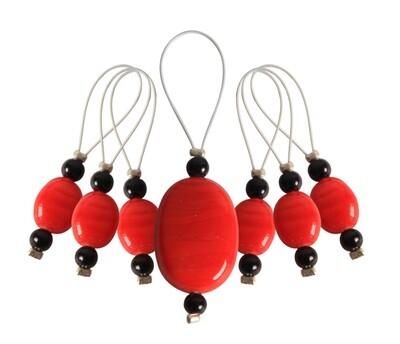 KnitPro 7 pearls - stitch markers Tangerine