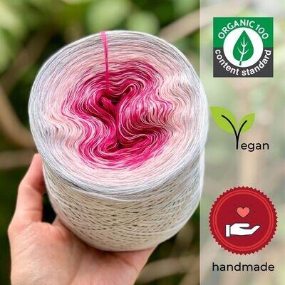 Woolpedia® Colors Himbeersahne liebt Curacao organic gradient yarncake (pure cotton)