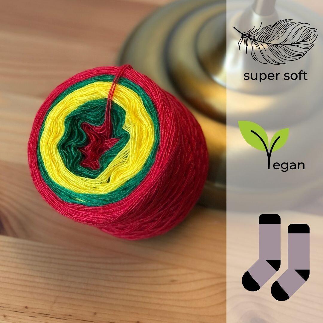 Woolpedia® Socks Rot-Golfgrün-Sonne - modal sock yarn