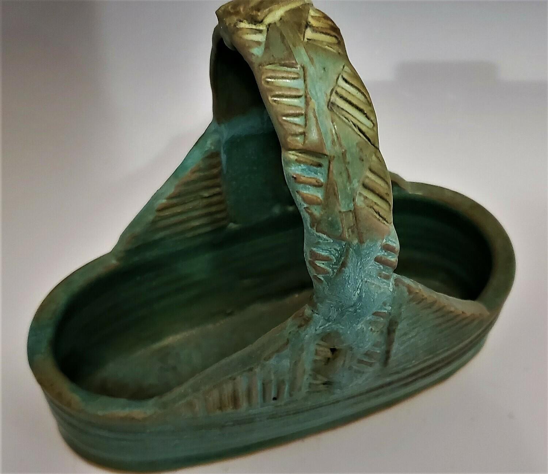 Weathered Turquoise Ceramic Basket