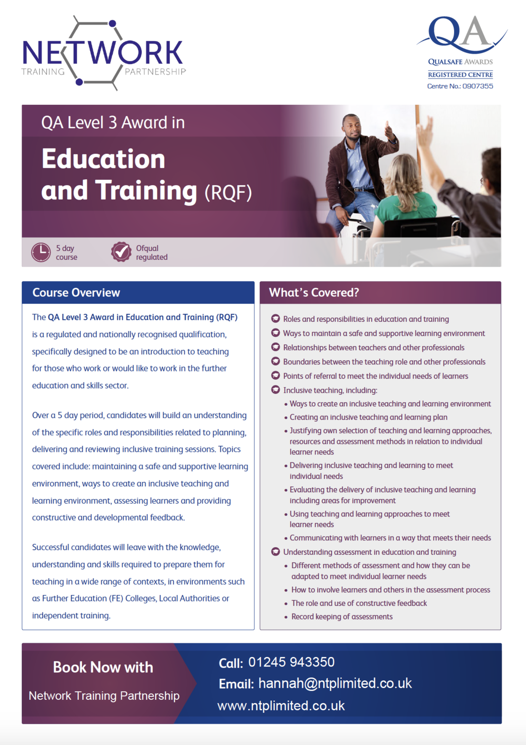 TrainAWARE L3 in Education and Training Course