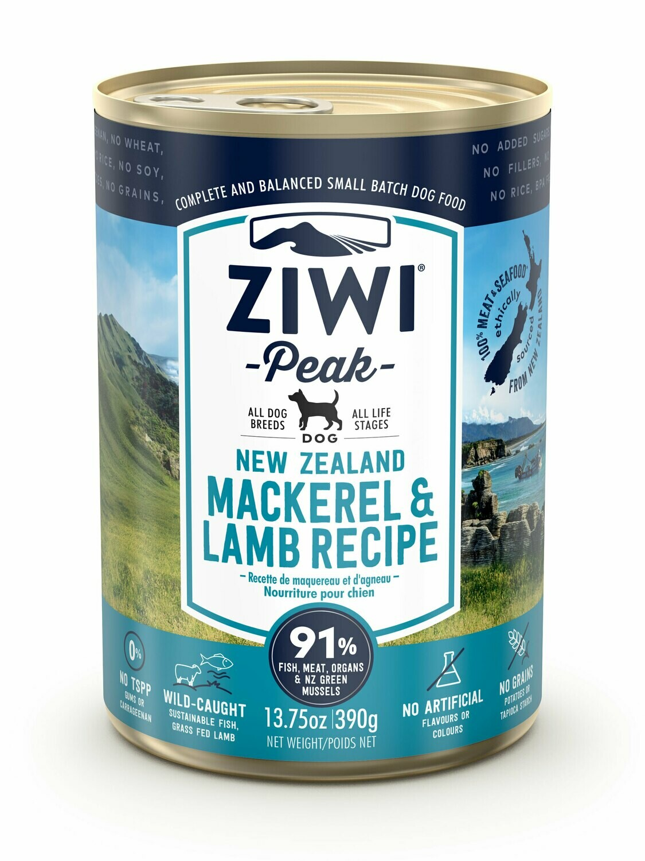 ZIWI Peak Dog Cans Makreel en Lam 390 gr.