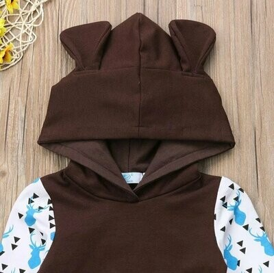 Fashion Cute Infant Newborn Baby Boys Girls Clothes Hooded Sweatshirt Print Pants 2pcs Outfit Cotton Baby Tracksuit Set