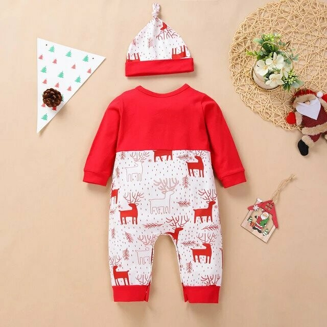 My First Christmas Newborn Baby Boys Girls Rompers Long Sleeve Christmas Bowknot Romper Jumpsuit+hat Set 3m-18m Baby Clothes