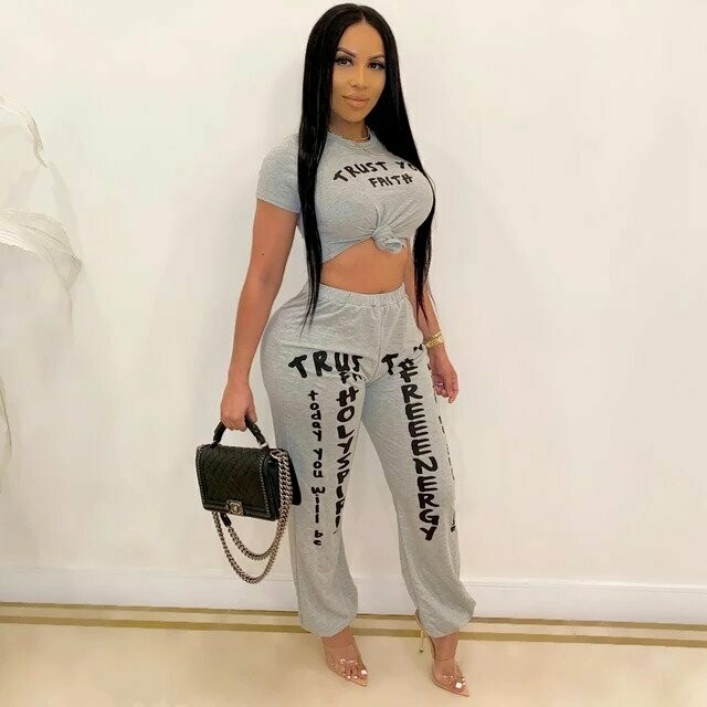 2020 Two Piece Set Women Clothing Sets Summer Tracksuit Letters Print Crop Top TShirts Pants Jogging Femme Lounge Wear Outfits